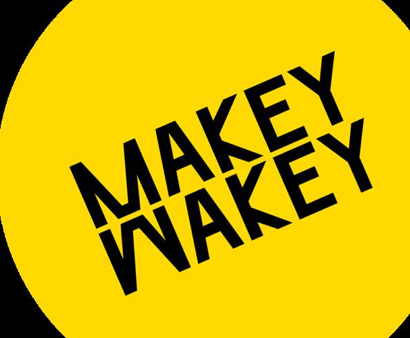 Makey Wakey logo, with black font on yellow background