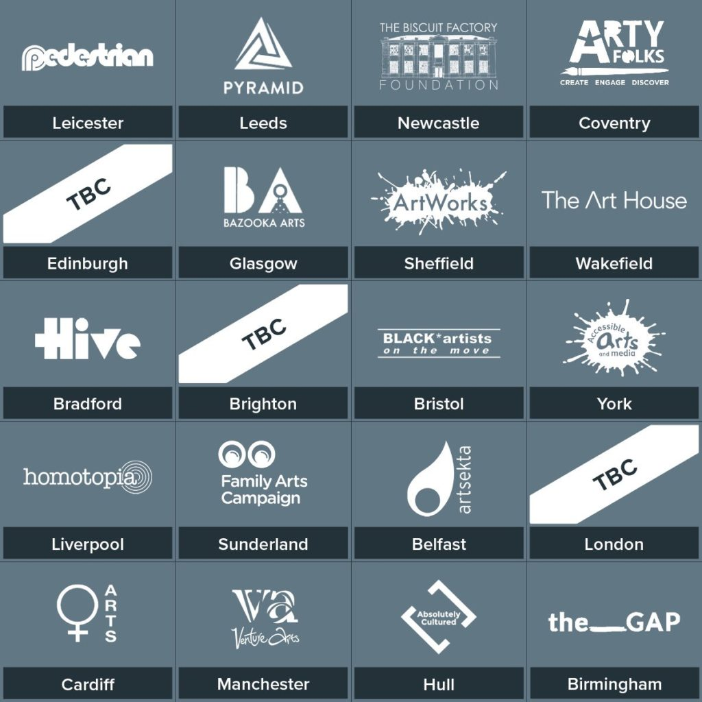 A Grid of the 20 arts charities logos involved in Secret Dishes From Around the World 3 on a blue background.